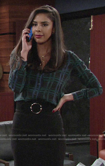 Kerry's plaid silk shirt on The Young and the Restless