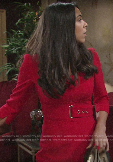 Kerry's red belted dress on The Young and the Restless