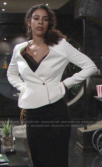 Kerry's white peplum jacket on The Young and the Restless
