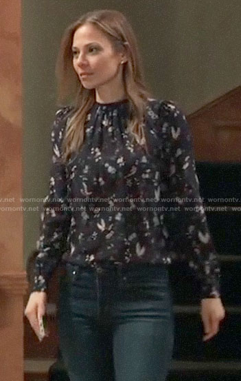 Kim' black floral and bird print blouse on General Hospital