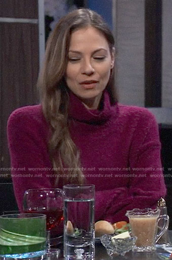 Kim's magenta pink textured sweater on General Hospital