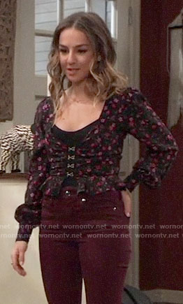 Kristina's floral top with hook and eye closure on General Hospital