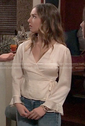 Kristina's off-white wrap top on General Hospital
