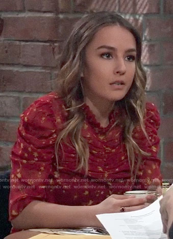 Kristina's red floral ruched top on General Hospital
