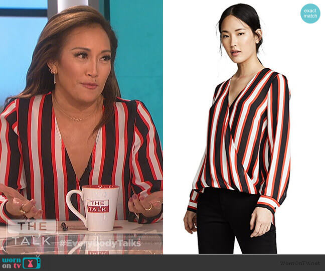 Kyla Draped Blouse by L'Agence worn by Carrie Inaba (Carrie Inaba) on The Talk