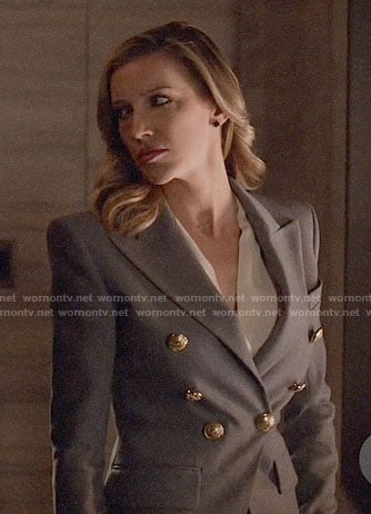 Laurel's grey double-breasted blazer on Arrow