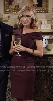 Lauren's burgundy twist detail dress on The Young and the Restless
