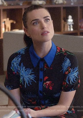 Lena's floral polo dress on Supergirl