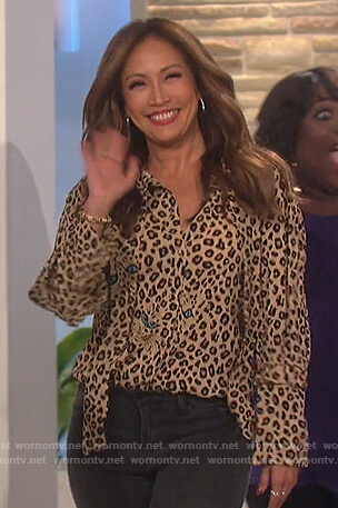 Carrie's leopard and cat print blouse on The Talk