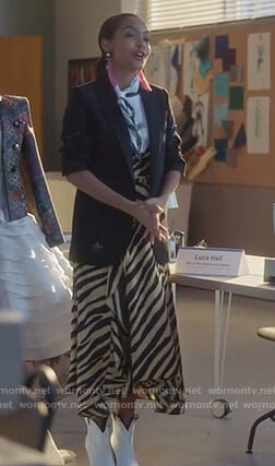 Zoey's zebra stripe dress and star embellished jacket on Grown-ish