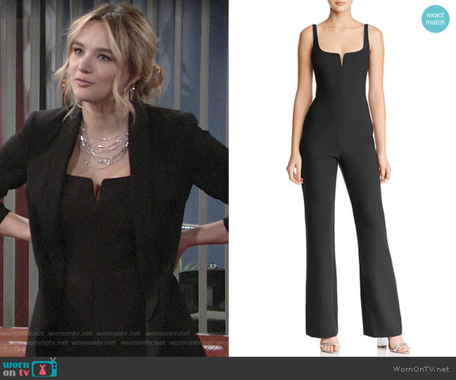Likely Notched Neckline Straight-Leg Jumpsuit worn by Summer Newman (Hunter King) on The Young & the Restless