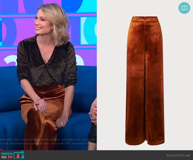 Noemi Rust Velvet Pants by LK Bennett worn by Amy Robach  on Good Morning America