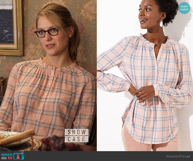 Loft Plaid Ruffle Henley Tunic worn by Kara Danvers (Melissa Benoist) on Supergirl