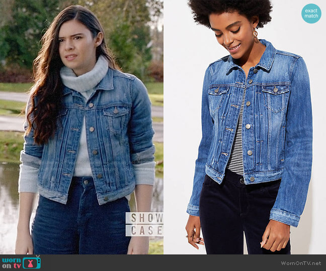 Loft Pleated Denim Jacket worn by Nia Nal (Nicole Maines) on Supergirl