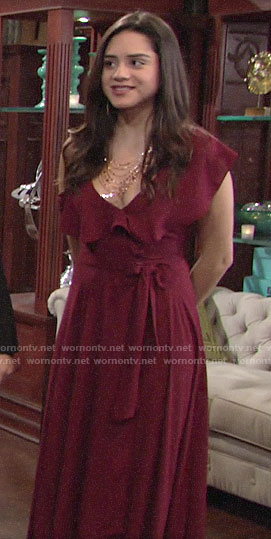 Lola's burgundy maid of honor dress on The Young and the Restless