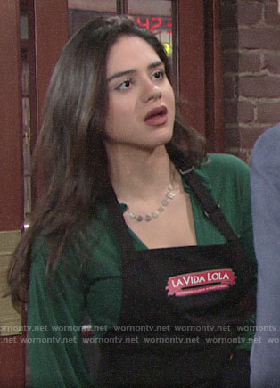 Lola's green top on The Young and the Restless