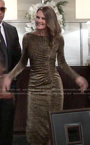 Lucy's gold ruched dress on General Hospital