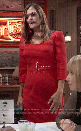 Lucy's red belted dress on General Hospital