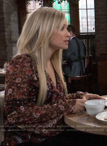 Lulu's floral ruffled blouse on General Hospital