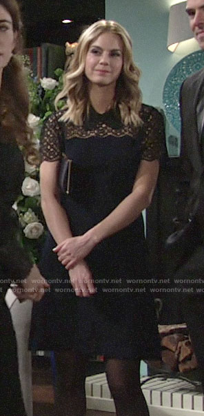 Mac's navy and and black lace panel dress on The Young and the Restless