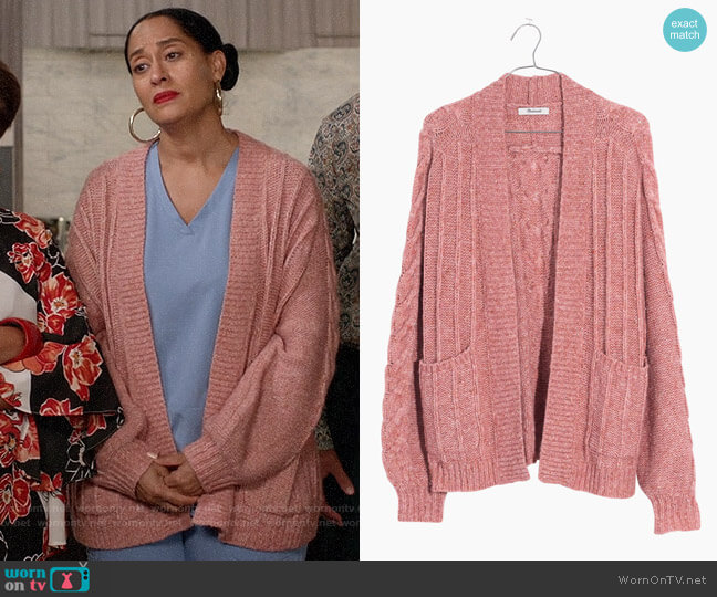 Madewell Bubble Sleeve Cable Knit Cardigan worn by Rainbow Johnson (Tracee Ellis Ross) on Blackish