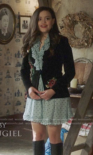 Maggie's blue polka dot dress and floral embroidered blazer on Charmed