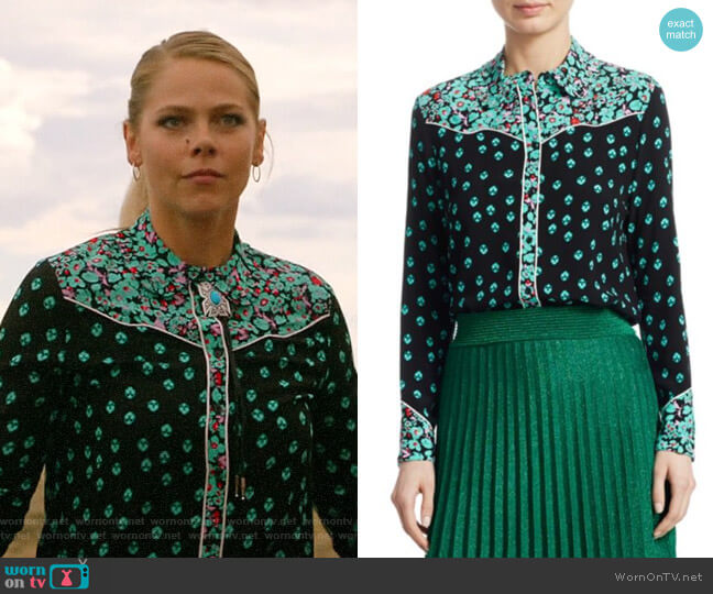Maje Cimani Printed Shirt worn by Isobel Evans-Bracken (Lily Cowles) on Roswell New Mexico