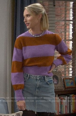 Mandy's purple striped sweater and denim skirt on Last Man Standing