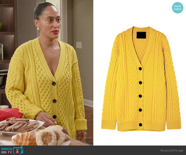 Marc Jacobs Cable-knit wool cardigan worn by Rainbow Johnson (Tracee Ellis Ross) on Blackish