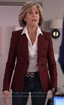 Grace's maroon double breasted blazer on Grace and Frankie