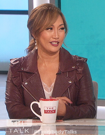 Carrie's burgundy ruffled moto jacket on The Talk