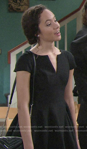 Mattie's black notched neck dress on The Young and the Restless
