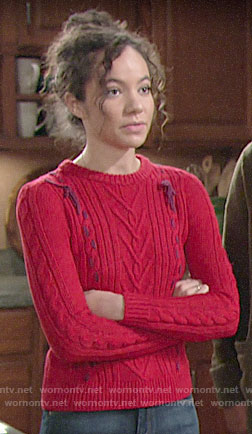 Mattie's red cable knit sweater with bows on The Young and the Restless