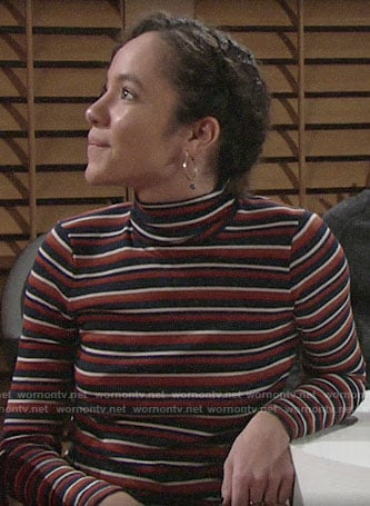 Mattie's striped turtleneck on The Young and the Restless