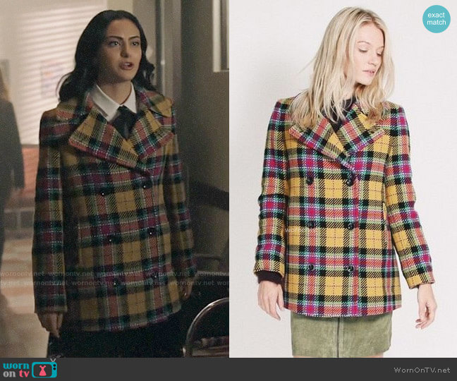 Maud Short Check Coat worn by Veronica Lodge (Camila Mendes) on Riverdale
