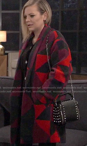 Maxie's geometric print coat and studded bag on General Hospital