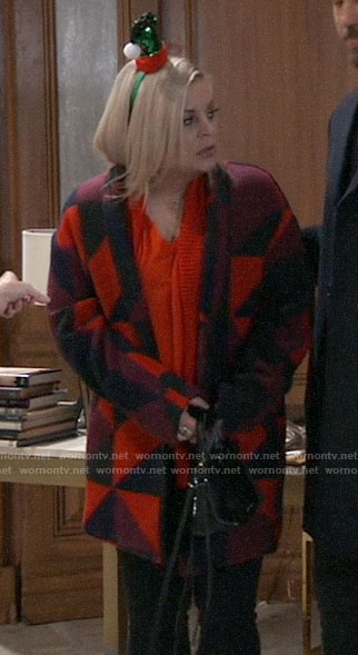 Maxie's red geometric print coat on General Hospital