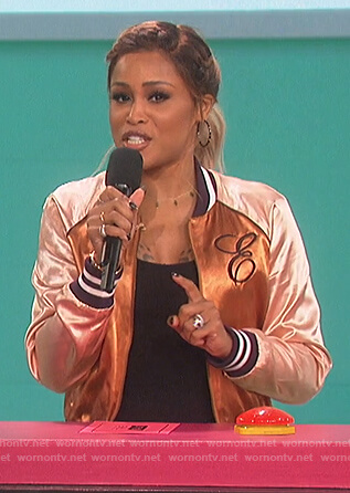 Eve's metallic bomber jacket on The Talk