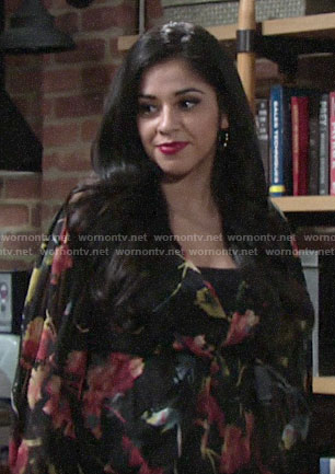 Mia's floral twist front blouse on The Young and the Restless
