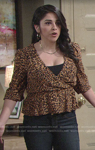 Mia's leopard print top on The Young and the Restless
