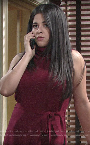 Mia's sleeveless tie waist turtleneck on The Young and the Restless