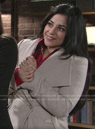 Mia's beige coat and red plaid scarf on The Young and the Restless