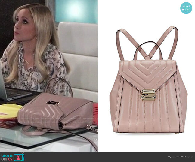MICHAEL Michael Kors Whitney Backpack in Fawn worn by Lulu Spencer Falconeri (Emme Rylan) on General Hospital
