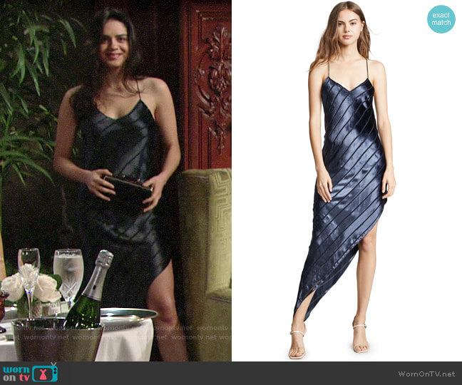 Michelle Mason Asymmetrical Velvet Bias Dress worn by Lola Rosales (Sasha Calle) on The Young & the Restless