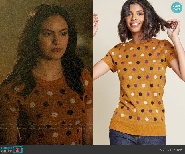 ModCloth What I Call Fun Intarsia Sweater in Dotted Orange worn by Veronica Lodge (Camila Mendes) on Riverdale