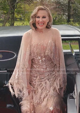 Moira's feather trim tulle gown on Schitt's Creek