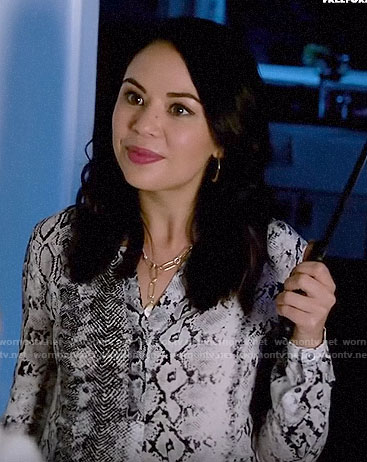 Mona's snake print blouse on PLL The Perfectionists
