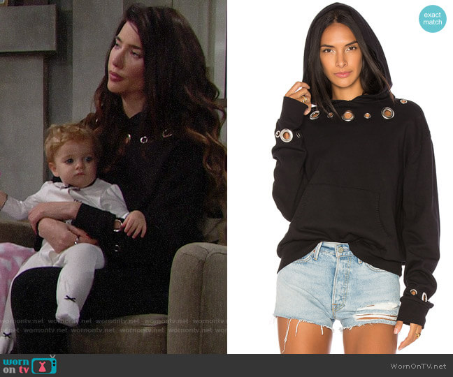 Monrow Grommet Hoody worn by Steffy Forrester (Jacqueline MacInnes Wood) on The Bold & the Beautiful