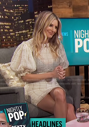 Morgan's white checked puff sleeve dress on E! News Nightly Pop