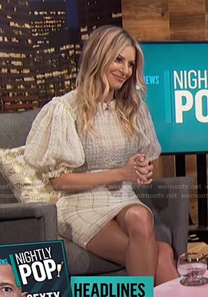 Morgan's white checked puff sleeve dress on E! News Nightly Pop